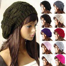NEW WARM WINTER WOMEN BERET BRAIDED BAGGY KNIT CROCHET BEANIE HAT SKI CAP 10