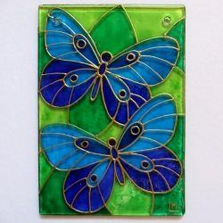 """Ručně malovaná vitráž - """"Motýlci"""" (cca 7,5 x 10 cm) Hand Painted Stained Glass"""