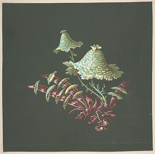 Anonymous, French, 19th century. Two Hat-Shaped Chinoiserie Flowers with Fanciful Leaves. The Metropolitan Museum of Art, New York. Gift of H. A. Elsberg, 1928 (28.55.4) #spring