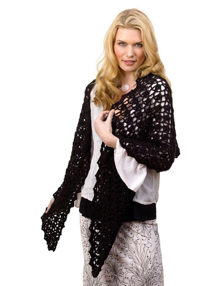 "✔Caron ""Openwork Wrap"" - crochet shawl - Yarnspirations"