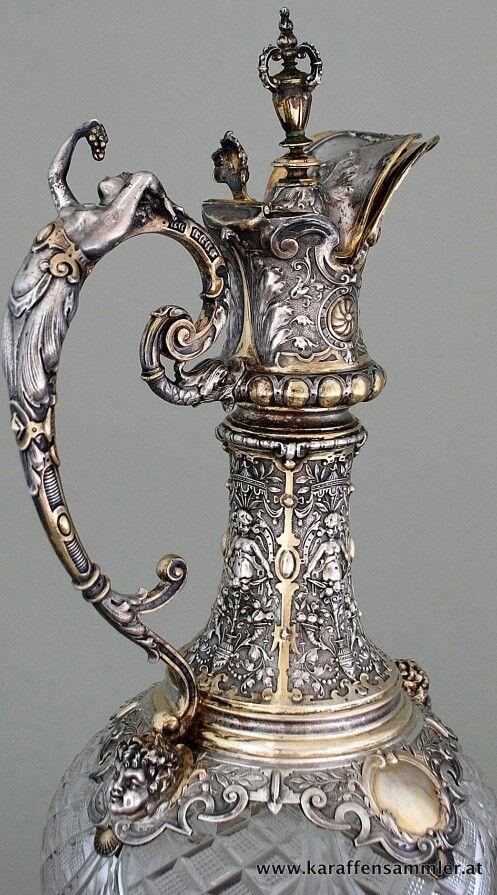 German silver claret jug detail, circa 1880 #AntiqueSilver #ClaretJug