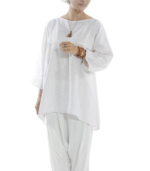 Womens  white linen loose leisure wear home wear pajamas by lanbao, $115.00