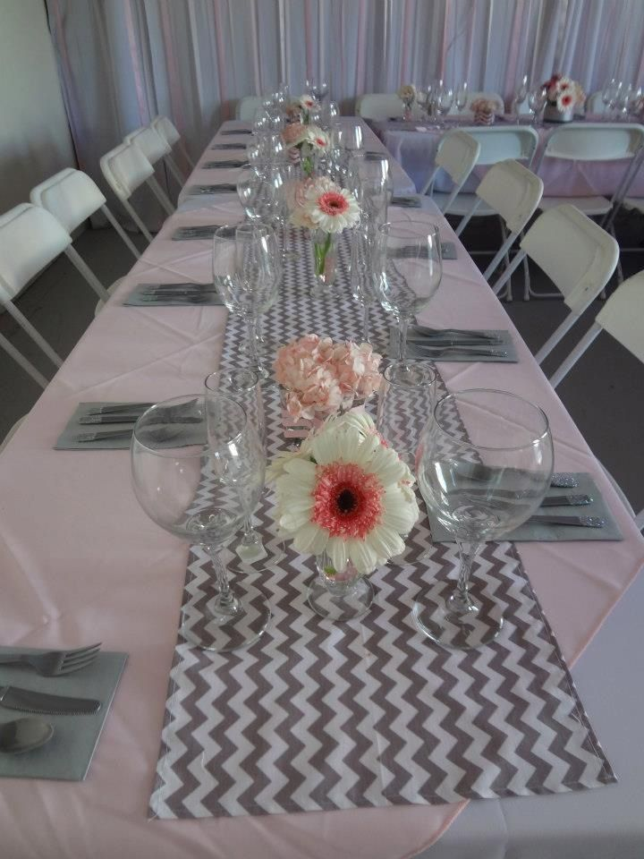 Punk and grey chevron bridal shower, tablescape