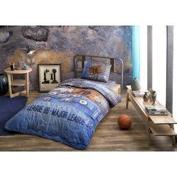 Taç Çantalı Lisanslı Yatak Örtüsü Tek Kişilik Jeans Mavi