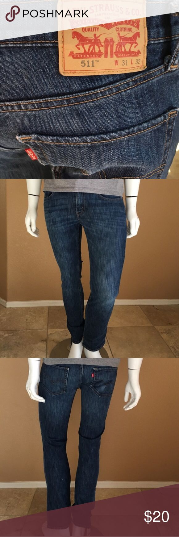 Men's 511 Jeans! 27. Men's 511 Skinny Dark Wash Levi Jeans! Size W:30, L: Inseam measures 30 inches, hemmed from original sizing. In excellent condition only worn a couple times! Levi's Jeans Skinny