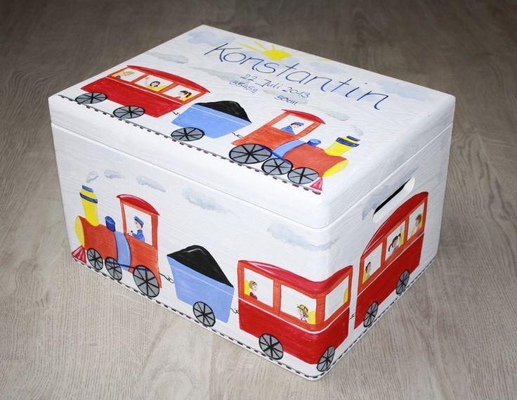 Kisten & Boxen - Spitzbub Erinnerungskiste- Lokomotive Zug Dampflok - ein Designerstück von Spitzbub bei DaWanda