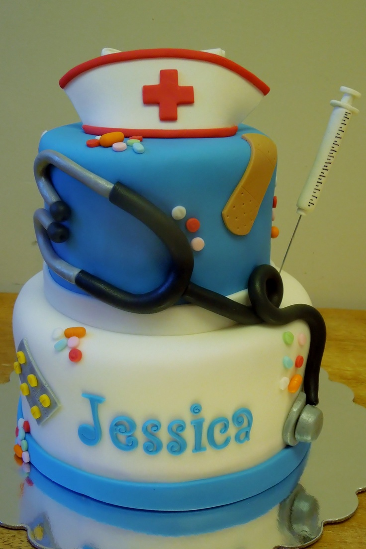 Original Whimsy Girls Cake Creation - NURSE cake - All decorations are handformed from fondant or gumpaste
