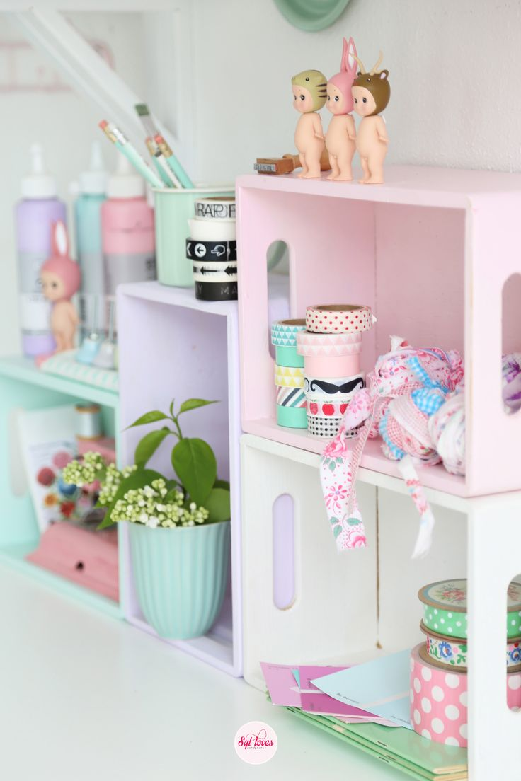 Painted wooden boxes make colourful storage. These would be perfect to display…