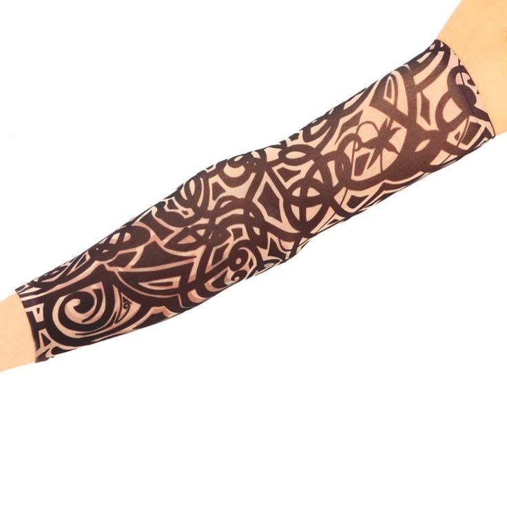 1 unid Fresco Multi colores de fibra Superfina elástico Falso tatuaje del Brazo de manga medias tatoo temporal Deporte Skins Sun Protectora Nuevo