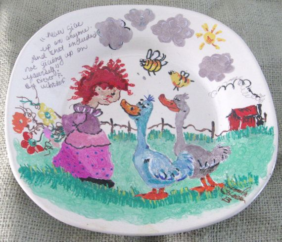 Never Give Up A 9X9 Inch Hand Painted Dish By Itsjustfranklykute, $13.00