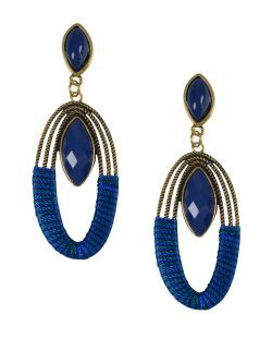 Cercei lungi, aurii, cu aplicatii albstre New spring summer collection earrings