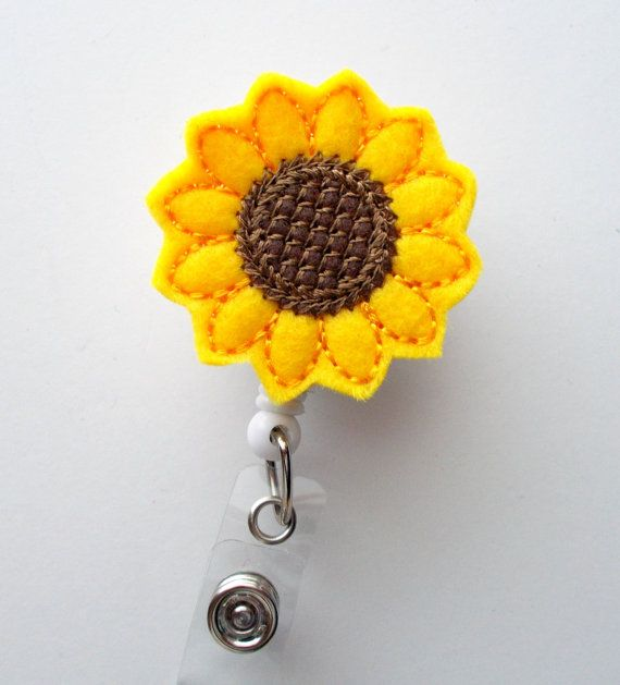 Sunflower Retractable ID Felt Badge Holder Name by BadgeShack