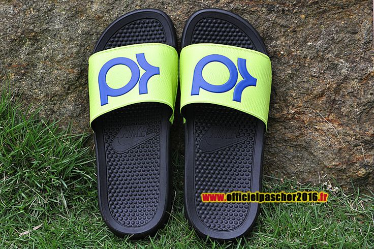 Officiel Nike KD Solarsoft Diapositives Nike Sandales Pas Cher Pour Homme Vert - Bleu