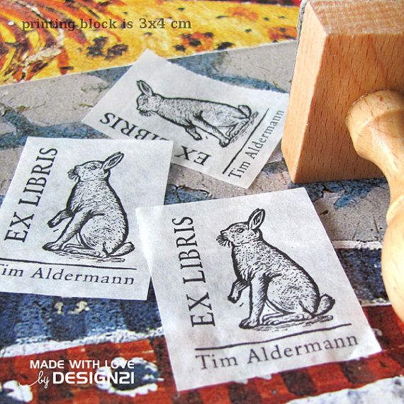 Bunny: personalised rubber stamp 3x4 cm by lida21 on Etsy