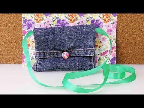 DIY Recycling Jeans   Bag Tasche Portemonnaie aus alter Jeanshose selber machen   Fashion - YouTube