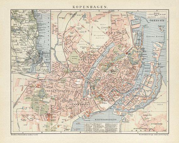 Copenhagen Antique Map Reproduction /  Old Map Print of Copenhagen - handmade paper print