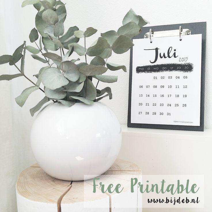 Free printable maand kalender Juli 2015