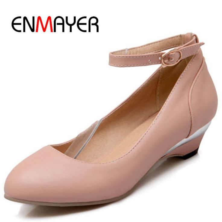 Find More Women's Flats Information about ENMAYER ballet flats for women  Closed Toe Round Toe women flats Buckle Strap Solid flats shoes Casual ...