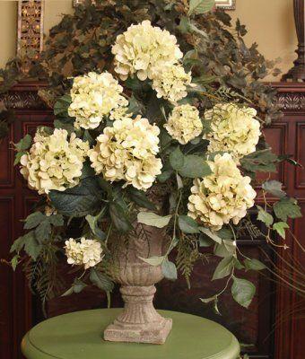 Light Green Hydrangeas Silk Flower Arrangement AR114-99 - Soft green faux hydrangeas with plumosom fern in Grecian urn.