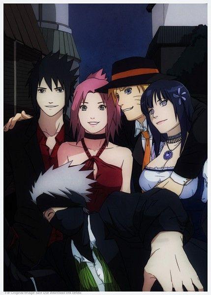 Sasuke, Sakura, Naruto, Hinata, and Kakashi!! ....one thing... Naruto's hand??  o_O