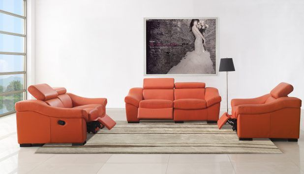 Cheerful suitable living room set idea with orange leatherette covering comfortable reclining sofa also brown shag rug area and black shade flooring lamp feat white living room wall paint,and white ceramic flooring tile