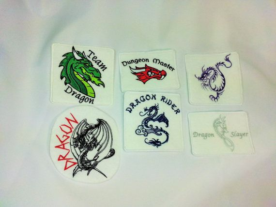 Dragon patches for the mythical creatures lover - iron on, sew on, velcro, oor magnet patches. Ferocious and colorful dragons.