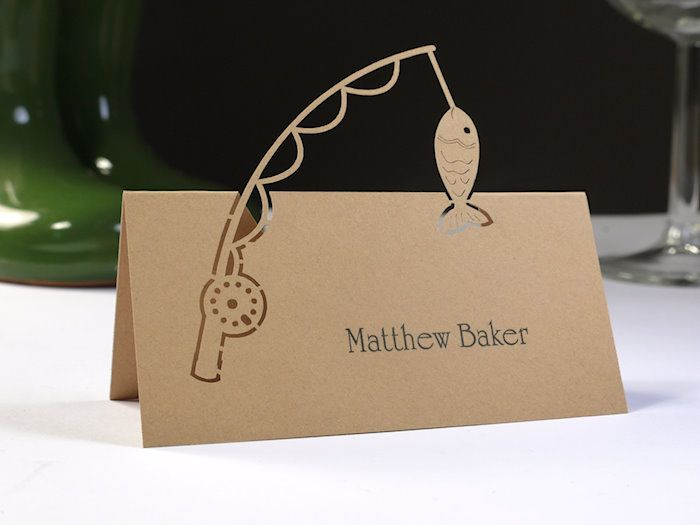 fishing themed wedding | Gone Fishing Name Place Cards (Pack 10) - Might be neat for cards to identify food on buffet