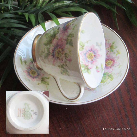 Vintage Royal Doulton PASSION FLOWER H4833 Bone China Cup and Saucer
