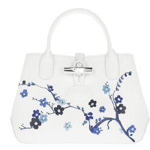 Longchamp Shoulder Bag - Roseau Sakura Messenger Navy - in white - Shoulder Bag for ladies
