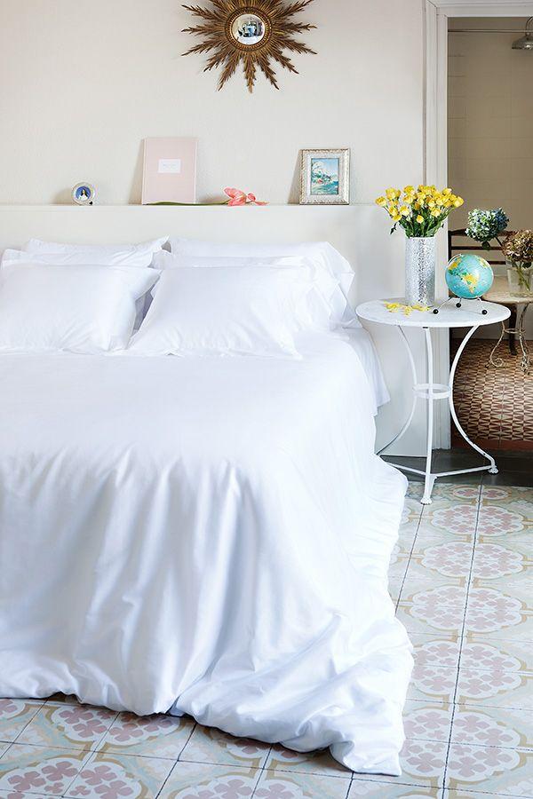 #dormitorio de estilo fresco con #sábanas de The White Basics