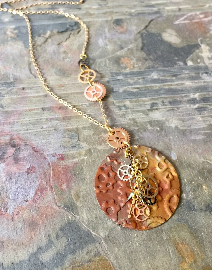 Fire Painted Raw Copper Steampunk Necklace, Watch Parts Necklace, Asymmetrical Chain Necklace, Gift, Jewelry Gift l, Gift Box Included by CarolsEpiphany on Etsy https://www.etsy.com/listing/496363498/fire-painted-raw-copper-steampunk