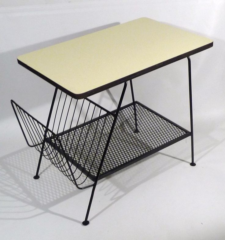 Mid Century Modern Side Table Hairpin Leg W/ Magazine Storage 1950u0027s