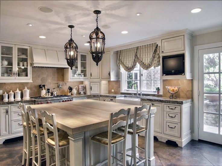Decorations, Recessed Kitchen Lighting Black Antique Pendant Lamps Kitchen Island Table With Light Wood Countertop White Dining Chairs L Shaped White Kitchen Cabinet With Granite Countertop White Upper Corner Kitchen Cabinet: Amazing French Country Kitchen Design Ideas That Will Attract You