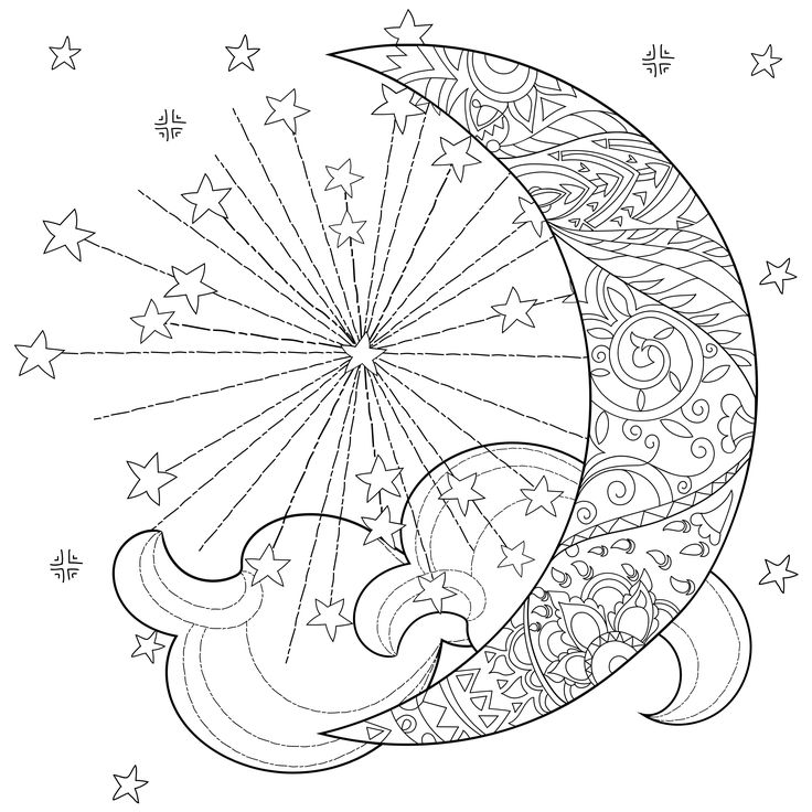 celestial sun moon coloring page Star coloring pages