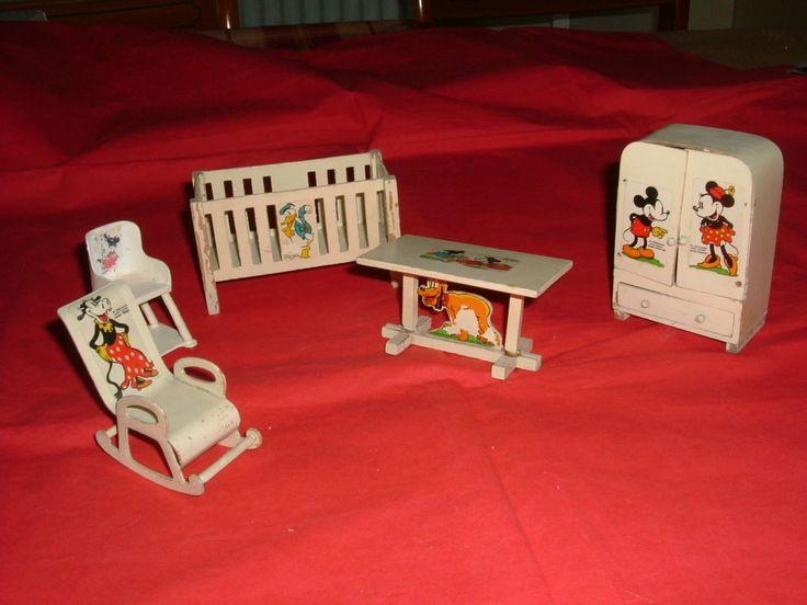 Vintage Rare Triang Walt Disney Micket Mouse Bedroom Set 5 Pieces | EBay