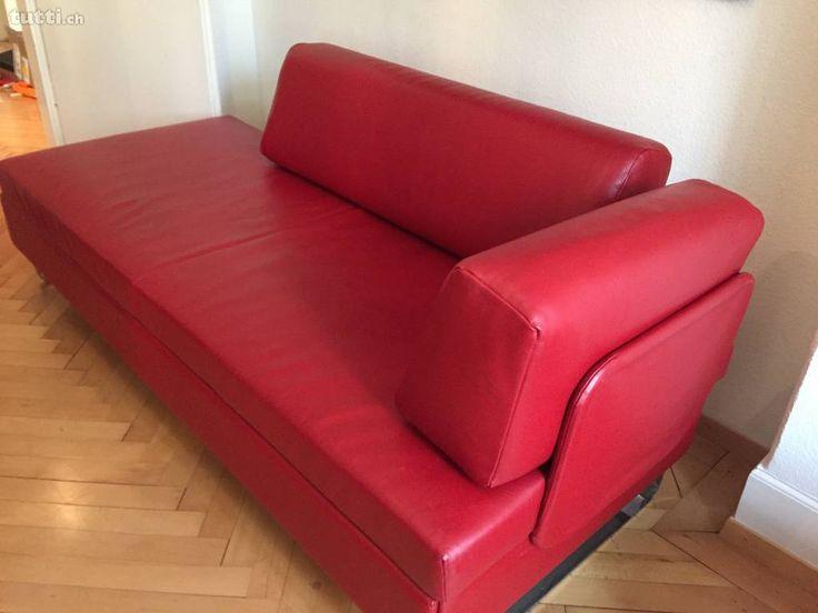 Bettsofa BED for LIVING Doppio Leder rot - Bettsofa BED for LIVING Doppio Leder rot von SWISSPLUS und BICO  Designsofa mit BICO Schlafkomfort, für  -W...