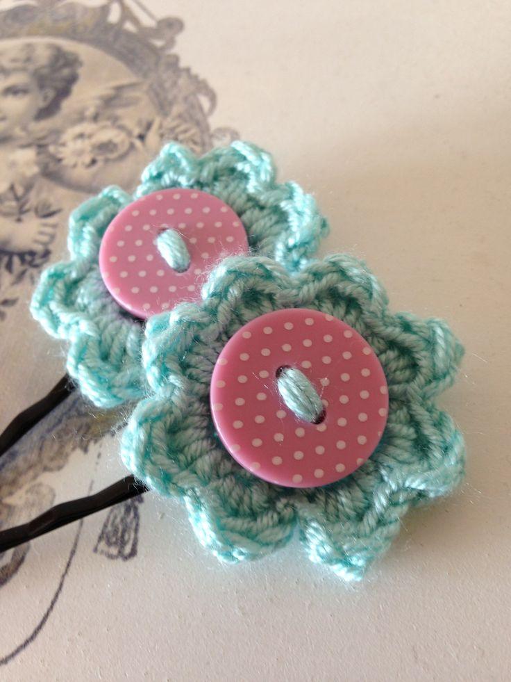 crochet hair clips - Google Search