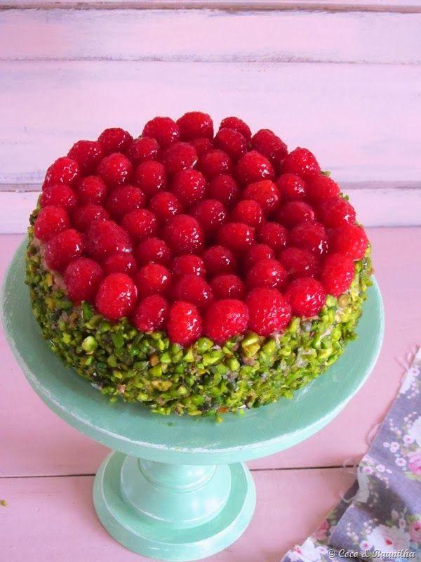 Coco e Baunilha: Cheesecake de framboesa e pistácio / Raspberry and pistachio cheesecake