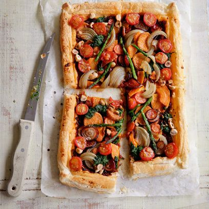 Vegetable tart with spinach pesto recipe. For the full recipe, click the picture or visit RedOnline.co.uk