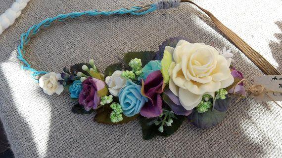 Blauwe bloem kroon elastische hoofdband blauwe turkoois ivoor roze bruiloft Festival Hair Bands bruidsmeisje haar stuk blauwe Boho Floral kroon