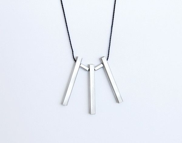 Sterling Silver Square Tube Pieces and Black Silk Cord Necklace
