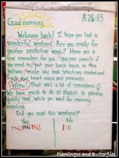 responsive classroom...morning message....Flamingos and Butterflies: Hopes, dreams, and commitments
