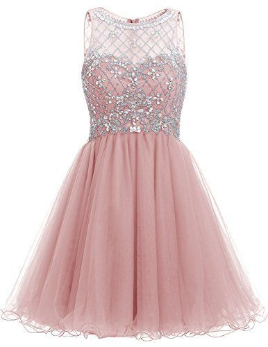 Pink Short A-Line Tulle Homecoming Dress Featuring Sweetheart Illusion Crystal Embellished Bodice