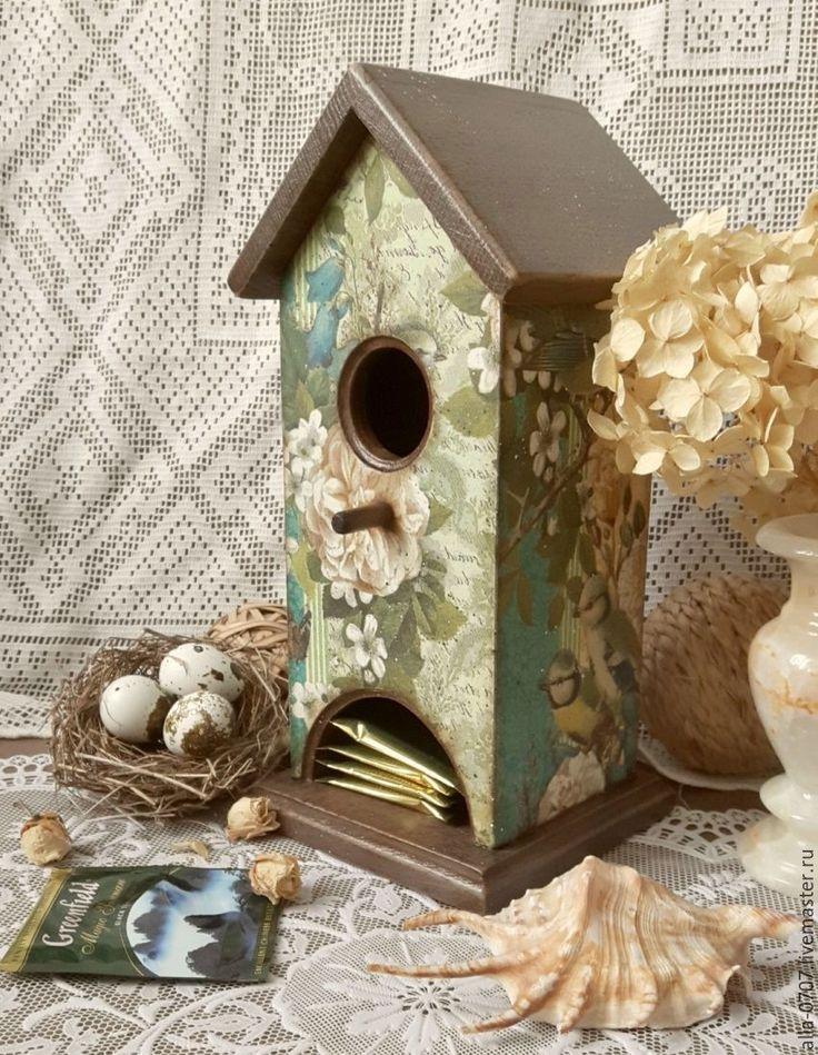 """Купить """"Птичьи трели"""" Чайный домик - Декупаж, подарок, разноцветный, шкатулка, шкатулка декупаж"""