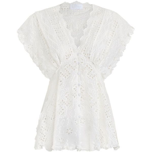 ZIMMERMANN Paradiso Chevron Blouse ($340) ❤ liked on Polyvore featuring tops, blouses, zimmermann, summer tops, white blouse, empire waist top, white summer blouse and white top