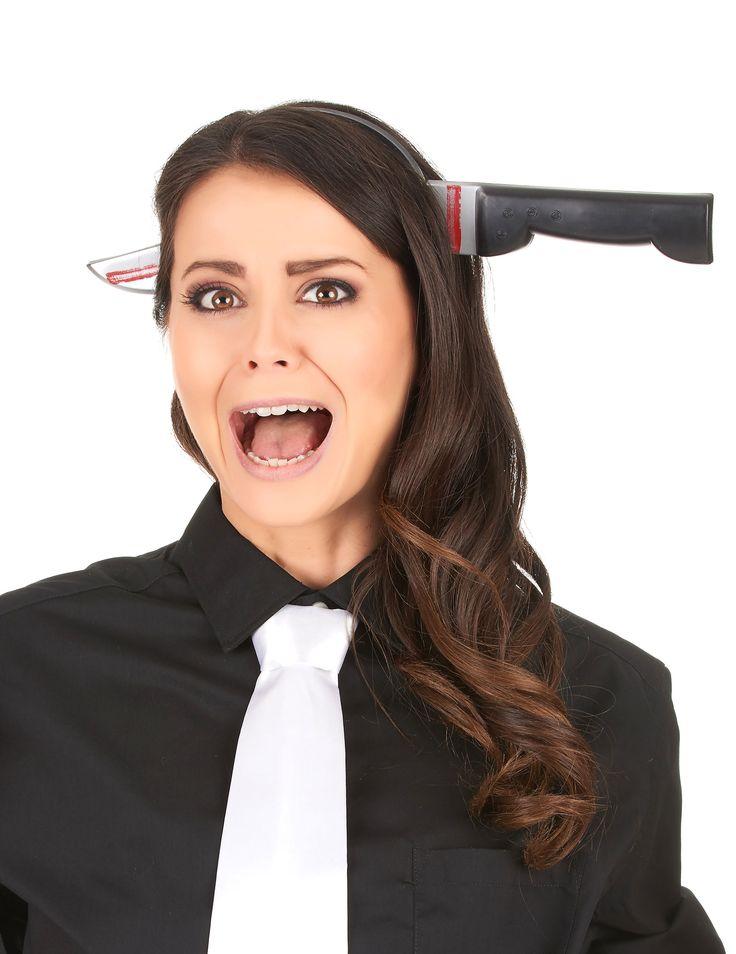 Deze haarband met bloederig mes zal een grappig en leuk accessoire zijn voor bij uw Halloween kostuum om op uw feestavond op te vallen! - Nu verkrijgbaar op Vegaoo.nl