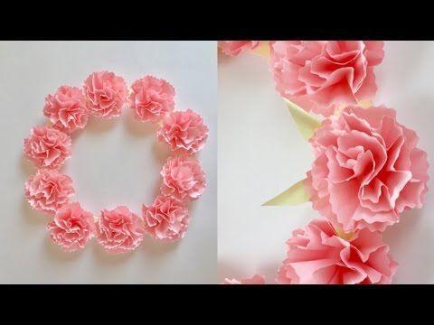 【折り紙】カーネーションのリース Paper Carnation Wreath - YouTube