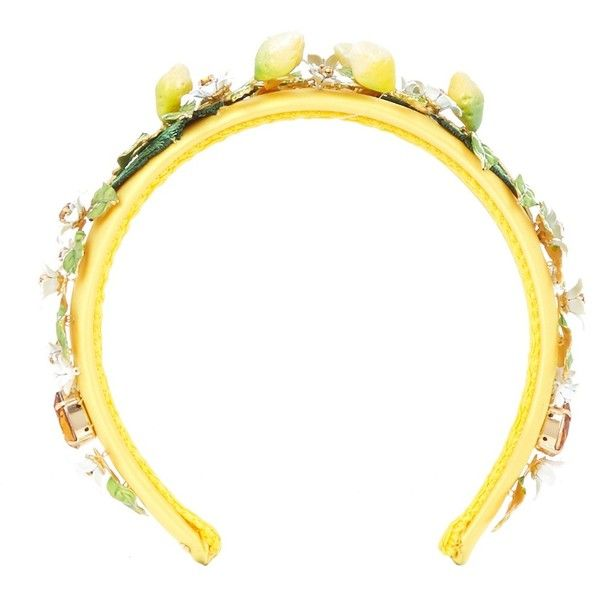 Dolce & Gabbana Lemon and daisy embellished headband (74.905 RUB) ❤ liked on Polyvore featuring accessories, hair accessories, headband crown, daisy hair accessories, embroidered headbands, crown headband and daisy crown headband
