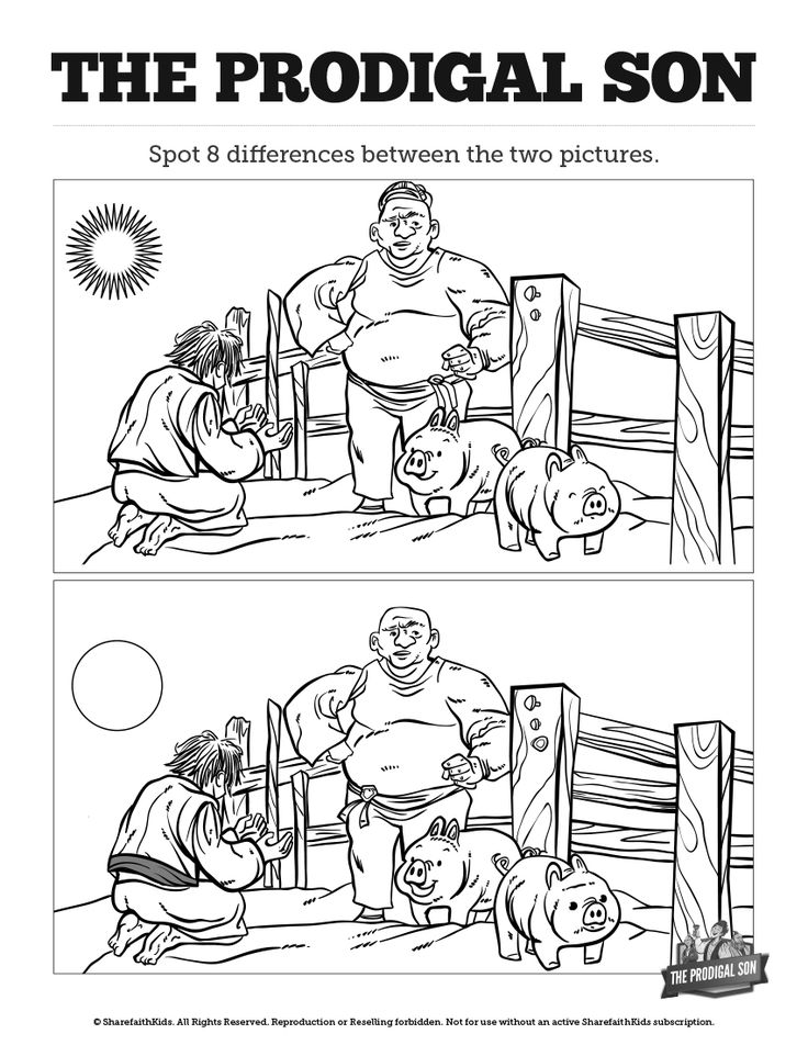 The Prodigal Son Kids Spot The Difference: Can your kids spot all the differences between these two Prodigal Son illustrations? Packed full of the kind of silly fun your kids love, this Prodigal Son activity page is going to go great with your Luke 15:11-32 Sunday school lesson.