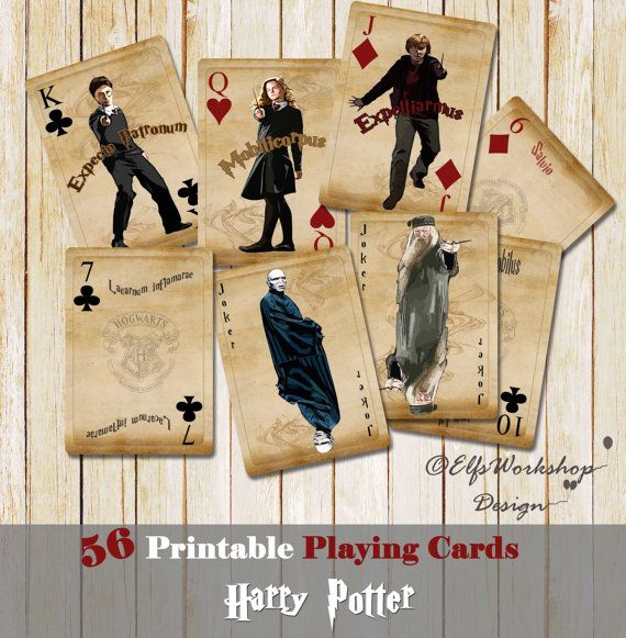 Printable playing cards with Harry Potter theme that you can print them at home on card stock, cut them and play! It's a lovely gift for you and your friends!  Item Description: You will receive 1 zip file with 7 sheets - JPEG files 300DPI Each playing card size: 2.5 x 3.5 inches Sheet size A4 (8.5x11 inches) ready for print 56 printable images  3 Steps: - Print! - Cut! - Play with Harry Potter and his friends!